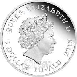 U.S.S. VOYAGER NCC-74656 Spaceship Star Trek Series Silver Coin 1$ Tuvalu 2015