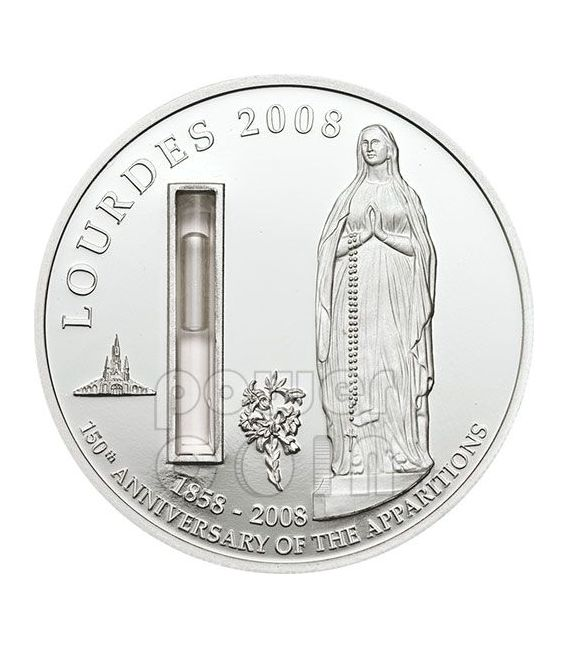 LOURDES With Water From The Source Silber Münze 1$ Palau 2008