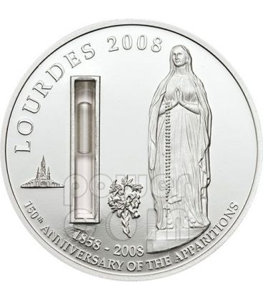 LOURDES With Water From The Source Silver Coin 1$ Palau 2008