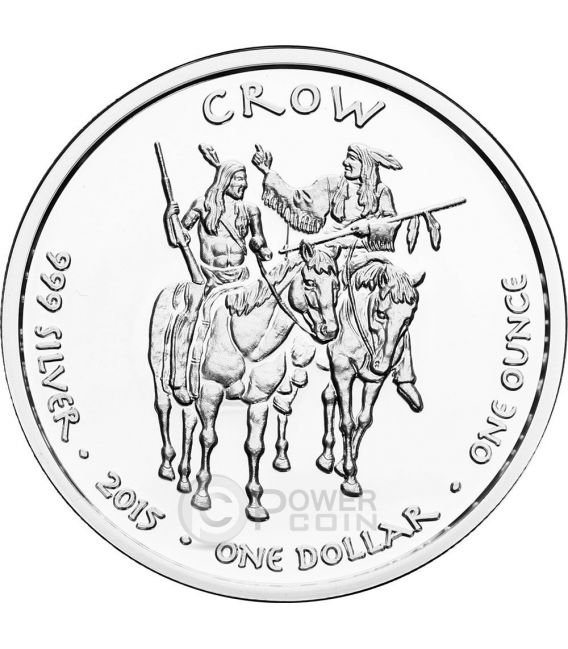 CROW MONTANA Timber Gray Wolf Native State 1 Oz Silver Coin 1$ Dollar Jamul 2015