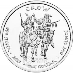 CROW MONTANA Timber Gray Wolf Native State 1 Oz Moneda Plata 1$ Dollar Jamul 2015