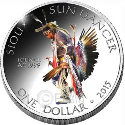 SIOUX Oglala Tribe Sun Dancer American Reservation 1 Oz Silver Coin 1$ Dollar America 2015