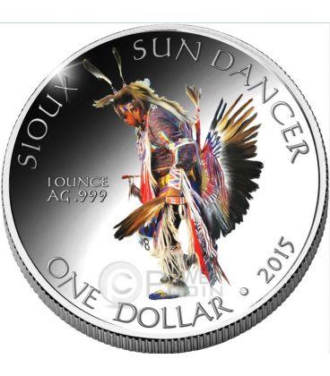 SIOUX Oglala Tribe Sun Dancer Danza Del Sole Riserva Indiana Moneta 1 Oz Argento 1$ Dollaro America 2015