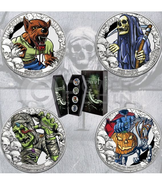 COINS FROM THE CRIPT R.I.P. Horror Tales Coffin Shaped Timber Set 4 Silver Coin 5$ Kiribati 2016