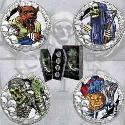 COINS FROM THE CRIPT R.I.P. Horror Tales Coffin Shaped Timber Set 4 Серебро Монета 5$ Кирибати 2016