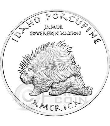 IDAHO BLACKFOOT Indiani Piedi Neri Porcospino Riserva Indiana Moneta 1 Oz Argento 1$ Dollaro Jamul 2015