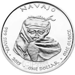 NEW MEXICO NAVAJO Navaho Giaguaro Riserva Indiana Moneta 1 Oz Argento 1$ Dollaro Jamul 2015