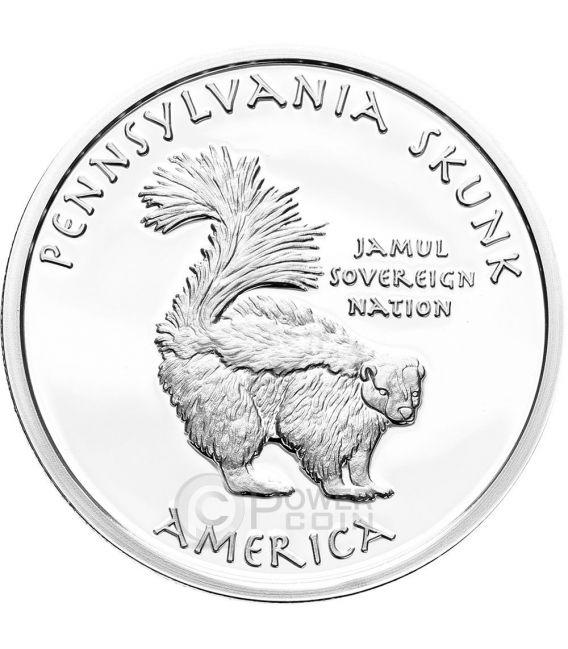 PENNSYLVANIA SKUNK Iroquois Native State 1 Oz Silber Münze 1$ Dollar Jamul 2015