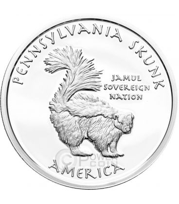 PENNSYLVANIA SKUNK Iroquois Moffetta Riserva Indiana Moneta 1 Oz Argento 1$ Dollaro Jamul 2015