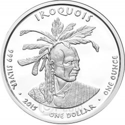 PENNSYLVANIA SKUNK Iroquois Native State 1 Oz Moneda Plata 1$ Dollar Jamul 2015