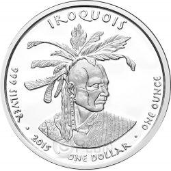 PENNSYLVANIA SKUNK Iroquois Native State 1 Oz Серебро Монета 1$ Dollar Jamul 2015