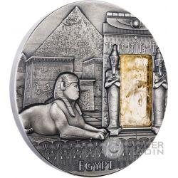 EGYPT Imperial Art Egitto Cristallo Citrino Moneta Argento 2 Oz 2$ Niue 2015