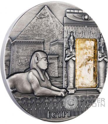 EGYPT Imperial Art Citrine Crystal 2 Oz Silver Coin 2$ Niue 2015