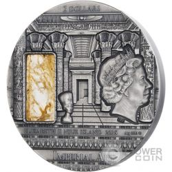 EGYPT Imperial Art Citrine Crystal 2 Oz Silver Coin 2$ Niue 2015