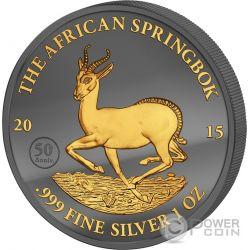 GOLDEN ENIGMA African Springbok Black Ruthenium 1 Oz Moneda Plata 1000 Francs Gabon 2015