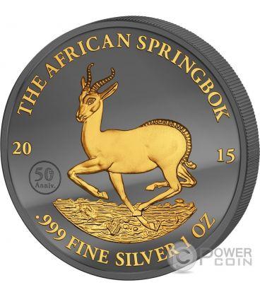 GOLDEN ENIGMA African Springbok Nera Rutenio Moneta Argento 1000 Franchi Gabon 2015