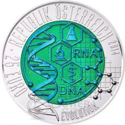 EVOLUTION Niobium Plata Bimetallic Moneda 25€ Euro Austria 2014