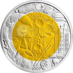 ASTRONOMY Astronomia Luna Niobio Moneta Bimetallica Argento 25€ Euro Austria 2009
