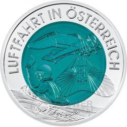 AUSTRIAN AVIATION Niobium Silber Bimetallic Münze 25€ Euro Austria 2007