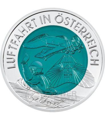 AUSTRIAN AVIATION Niobium Silver Bimetallic Coin 25€ Euro Austria 2007