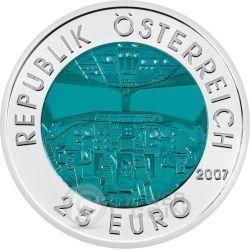 AVIAZIONE Austrian Aviation Niobio Moneta Bimetallica Argento 25€ Euro Austria 2007