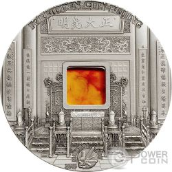 FORBIDDEN CITY BEIJING Pechino Mineral Art Ambra Moneta Argento 2 Oz 10$ Palau 2015