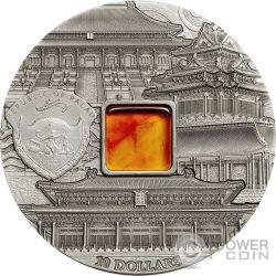 FORBIDDEN CITY BEIJING Mineral Art Amber 2 Oz Silber Münze 10$ Palau 2015