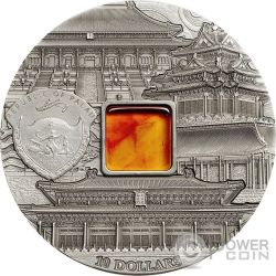 FORBIDDEN CITY BEIJING Mineral Art Amber 2 Oz Silver Coin 10$ Palau 2015