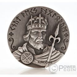 KING CNUT Vikings Gods Kings Warriors 2 Oz Moneda Plata 2$ Niue 2015