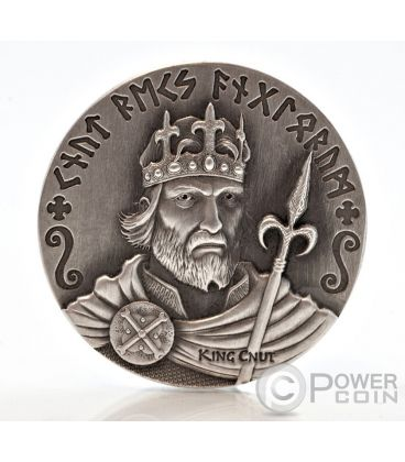 KING CNUT Vikings Gods Warriors Moneta Argento 2 Oz 2$ Niue 2015
