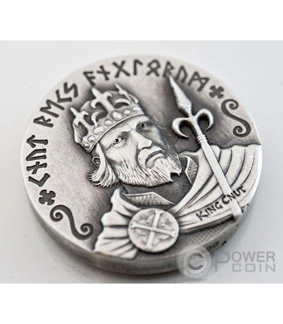 KING CNUT Vikings Gods Kings Warriors 2 Oz Silver Coin 2$ Niue 2015