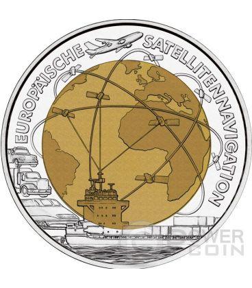 EUROPEAN SATELLITE NAVIGATION Navigazione Satellitare Niobio Moneta Bimetallica Argento 25€ Euro Austria 2006