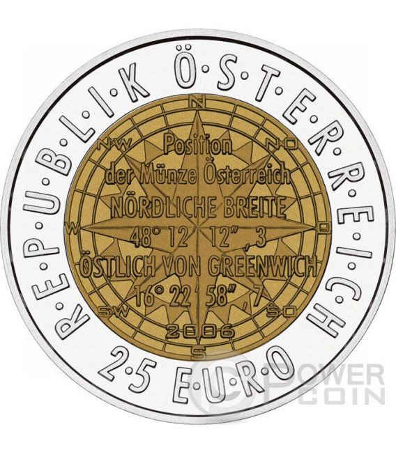 EUROPEAN SATELLITE NAVIGATION Niobium Silver Bimetallic Coin 25€ Euro Austria 2006