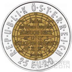 EUROPEAN SATELLITE NAVIGATION Niobium Серебро Bimetallic Монета 25€ Euro Австрия 2006