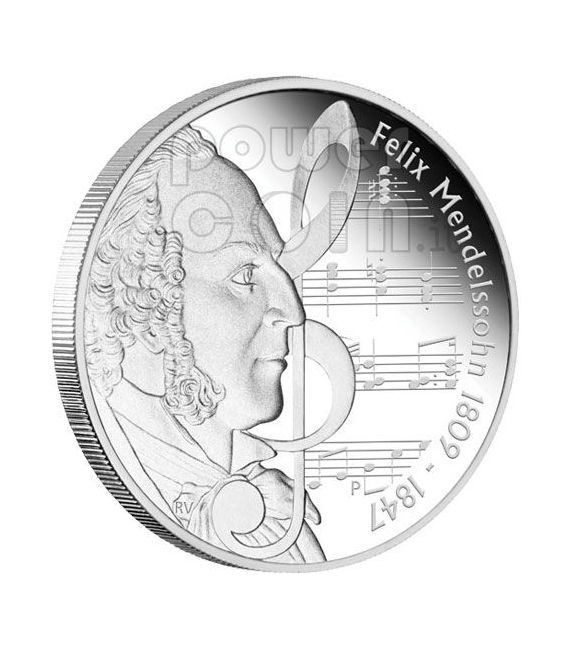 MENDELSSOHN Felix Great Composers Silber Münze 1$ Tuvalu 2009