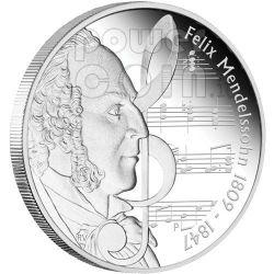 MENDELSSOHN Felix Great Composers Серебро Монета 1$ Тувалу 2009