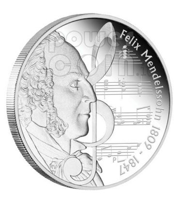 MENDELSSOHN Felix Great Composers Silver Coin 1$ Tuvalu 2009
