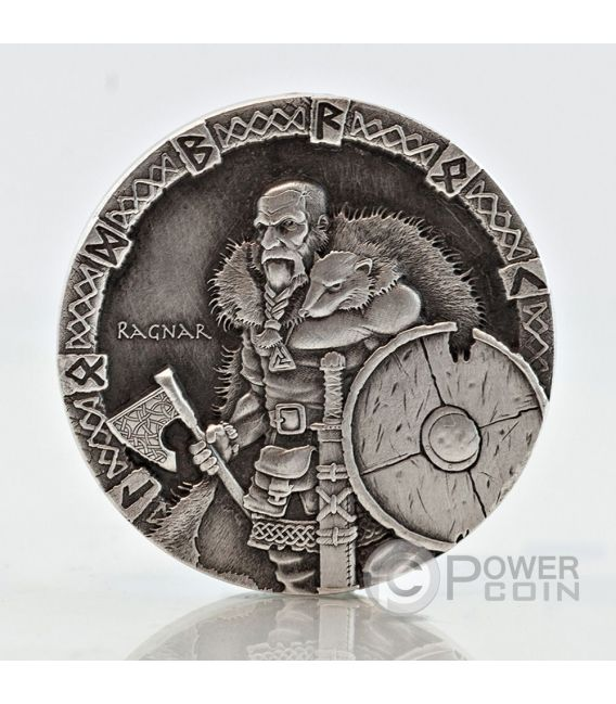 RAGNAR Vikings Gods Warriors Moneta Argento 2 Oz 2$ Niue 2015