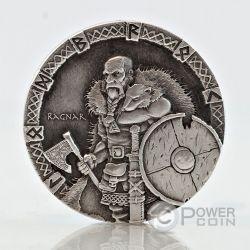 RAGNAR Vikings Gods Kings Warriors 2 Oz Moneda Plata 2$ Niue 2015