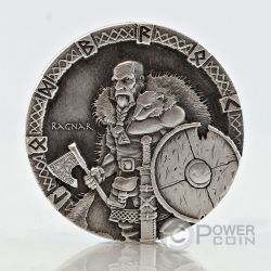 RAGNAR Vikings Gods Warriors Moneta Argento 2 Oz 2$ Niue 2015