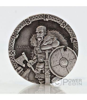 RAGNAR Vikings Gods Kings Warriors 2 Oz Silver Coin 2$ Niue 2015