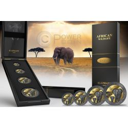 GOLDEN ENIGMA AFRICAN WILDLIFE Elephant Black Ruthenium Set 2 Oz Silver Coin 200 Shillings Somalia 2015