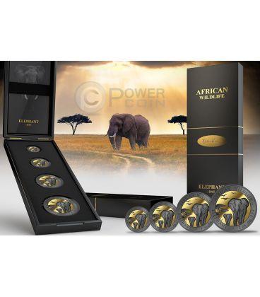 GOLDEN ENIGMA AFRICAN WILDLIFE Elefante Nera Rutenio Set Moneta Argento 200 Shillings Somalia 2015