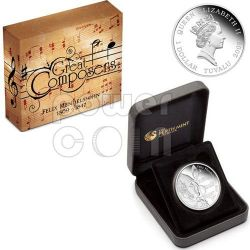 MENDELSSOHN Felix Great Composers Silver Coin 1$ Tuvalu 2009