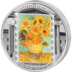 VINCENT VAN GOGH Sunflowers 3 Oz Moneda Plata 20$ Cook Islands 2010