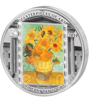 VINCENT VAN GOGH Sunflowers 3 Oz Silver Coin 20$ Cook Islands 2010