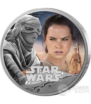 REY Il Risveglio Della Forza Star Wars The Force Awakens 1 oz Moneta Argento 2$ Niue 2016