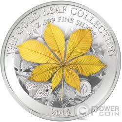 CHESTNUT LEAF 3D Gold Leaf Collection 1 Oz Silber Münze 10$ Samoa 2014