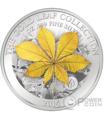 CHESTNUT LEAF 3D Foglia Gold Leaf Collection Moneta Argento Oro 1oz 10$ Samoa 2014