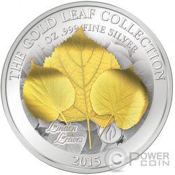 LINDEN LEAF 3D Gold Leaf Collection 1 Oz Silver Coin 10$ Samoa 2015